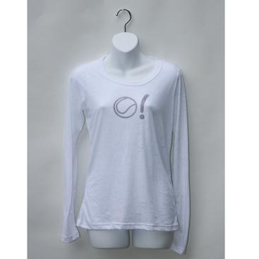Women's Long Sleeve Burnout Tee-White with Tennis