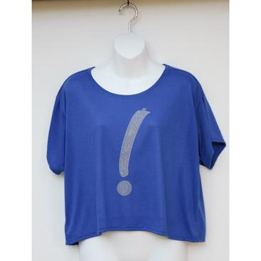 Boxy Cropped Tee - Royal with Silver Point