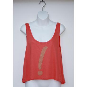 Boxy Cropped Tank - Coral with Point