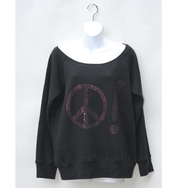 Off-the-Shoulder Sweatshirt - Black with Peace