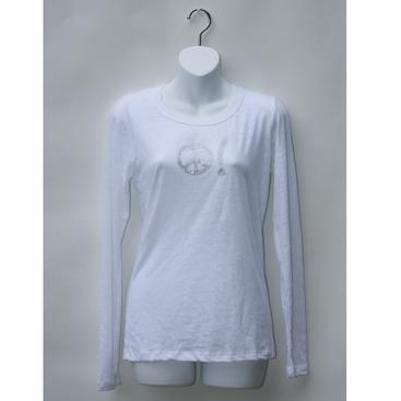 Women's Long Sleeve Burnout Tee-White with Peace