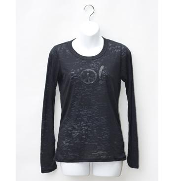 Women's Long Sleeve Burnout Tee - Black with Peace
