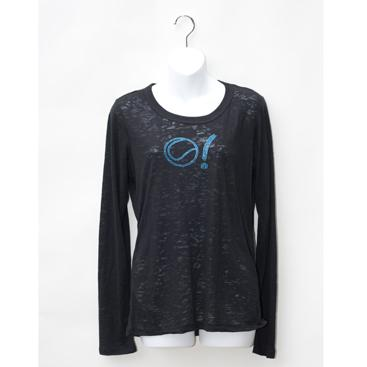 Women's Long Sleeve Burnout Tee-Black with Tennis