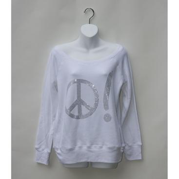Off-the-Shoulder Sweatshirt - White with Peace