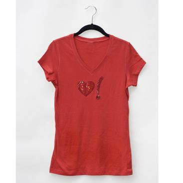 Women's V-Neck Tee - Red with Heart Symbol