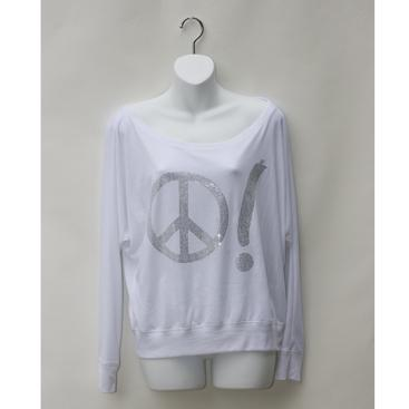 Relaxed-Neck Dolman Sleeve Top - White w/ Peace