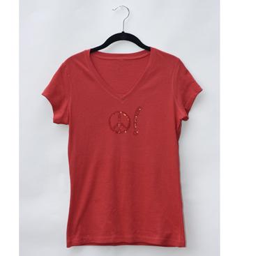 Women's V-Neck Tee - Red with Peace Symbol